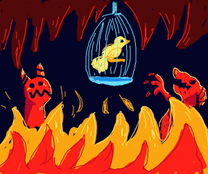 bird with cage in hell