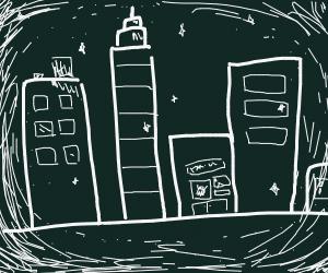 A black, white, and big city