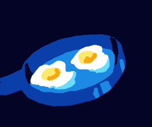 Eggs cooking in a pan