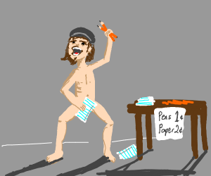 naked man selling pens and paper
