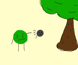Green throws bowling ball at tree