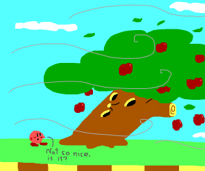an apple tree in the wind