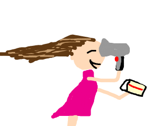 blow drying hair while eating cake