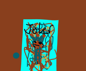 A joker card with an abstract background
