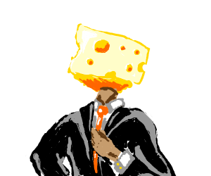 Business man with a cheese head