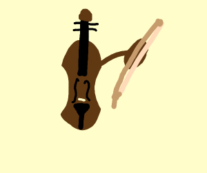 Violin magicallyplays with the bow next to it