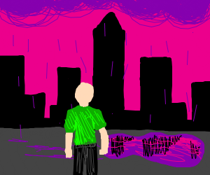 Guy in green shirt with purple puddle