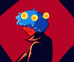 Blue haired man in trenchcoat with star-orbs
