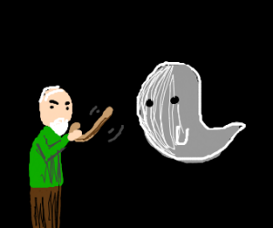 old man get mad at a ghost