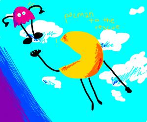 Pacman flies to the sky