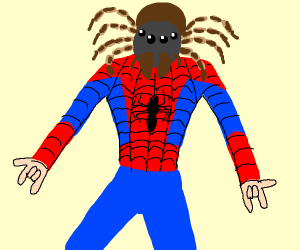 SpiderMan but his head is a Spider