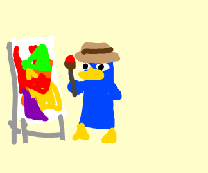 Perry the platypus paints abstract art
