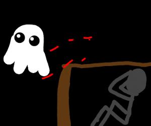 guy hiding in the dark