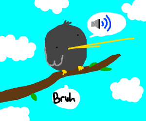 cool birb on branch saying 'bruh'