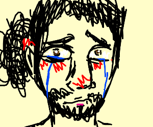 An extremely sad man crying.