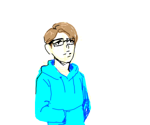 guy in blue with brown hair and glasses