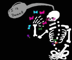 skeleton is candy drunk
