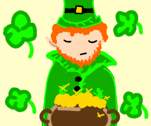 Leprechaun with his eyes closed
