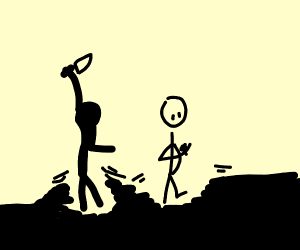 silhouettes of man about to stab another man
