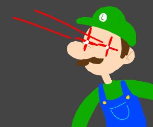 Glowing/glare eye meme Luigi - Drawception