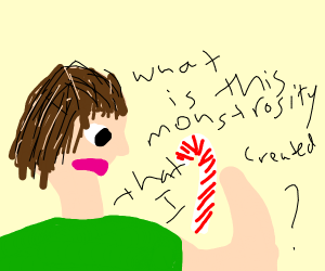 Man is appalled that he made a candycane