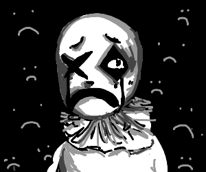 very sad clown with detail
