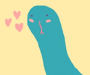 Cute snake makes a heart