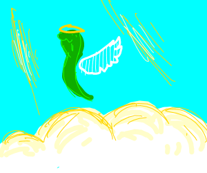an angelic snake flying