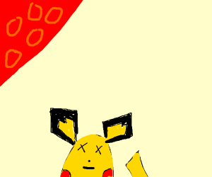 dead pikachu under a red moon