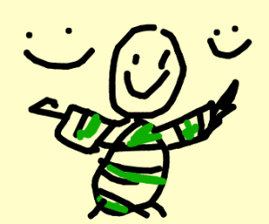 A happy man in a (green) Stripped Sweater