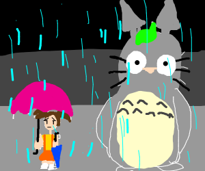 Totoro on the bus stop scene
