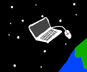 laptop in space