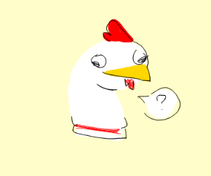 Confused sock puppet hen