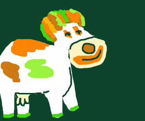 bizare clown cow looking thing