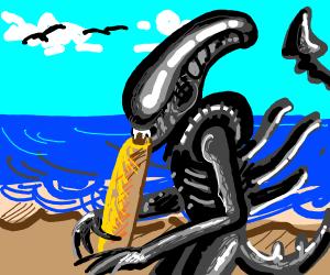 Alien Eats Food On Beach