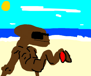 ET's one legged brother TE on the beach