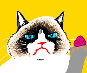 Grumpy cat gum on paw ewwwl.