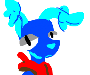blue furry that is a dog with twisted ears