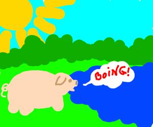 Pig saying boing to a lake