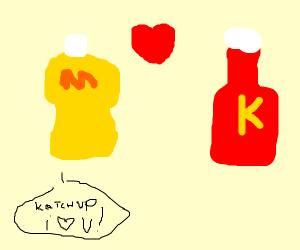 mustard bottle loves ketchup bottle
