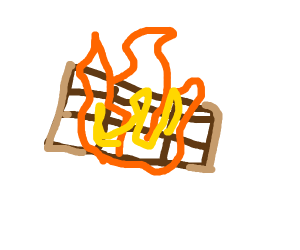 fire burning chocolate bar