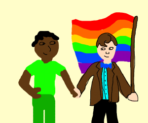 Man in green and Doctor Who w/ wings are gay