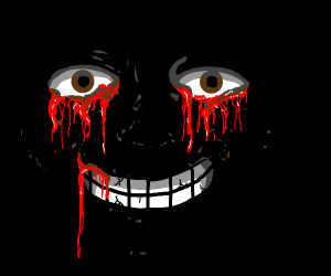 man crying blood, smiling in Le dark