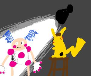 Detective Pikachu interrogates Mr. Mime