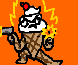 Lv 99 chocolate icecream cone with guns