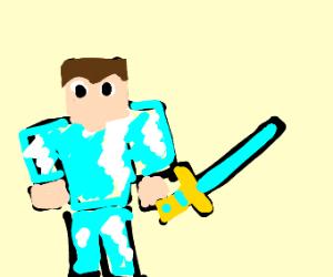 Steve in diamond armor w/ sword