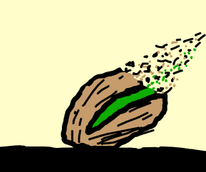 A pistachio disappearing into nothingness