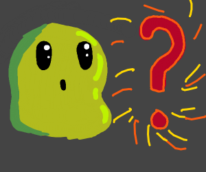 A green thing watching a question mark