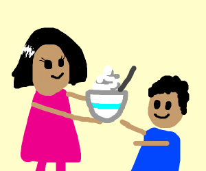 mommy offers yogurt