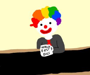 Clown at his office job